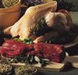 Carnes: res, pollo, pavo, pescados